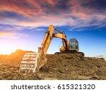 Excavator In Construction Site...