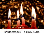 birthday cake with candles... | Shutterstock . vector #615324686