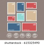 blank postage stamps in... | Shutterstock .eps vector #615325490