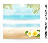 vector set of summer horizontal ... | Shutterstock .eps vector #615325838