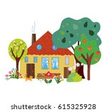 farm house in the countryside... | Shutterstock .eps vector #615325928