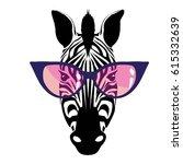 zebra with glasses   vector ... | Shutterstock .eps vector #615332639