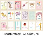collection of cute artistic... | Shutterstock .eps vector #615335078