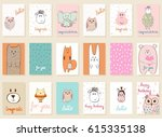 collection of cute artistic... | Shutterstock .eps vector #615335138