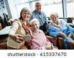 group of elegant looking senior ... | Shutterstock . vector #615337670