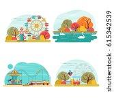 set of amusement park scenery... | Shutterstock .eps vector #615342539
