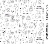 birthday animals funny doodle... | Shutterstock .eps vector #615349778