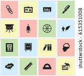 set of 16 editable education... | Shutterstock .eps vector #615351008