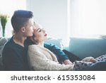 loving young couple hugging and ... | Shutterstock . vector #615353084