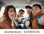 a fun company of four friends... | Shutterstock . vector #615354176