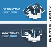 web developer  flat design | Shutterstock .eps vector #615355469