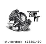 pair of dumbbells  hand drawn... | Shutterstock .eps vector #615361490