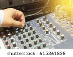 Small photo of The hand adjust mixer table or fader board for music production process