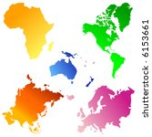five continents vector | Shutterstock .eps vector #6153661