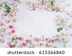 pink and white rose flowers... | Shutterstock . vector #615366860