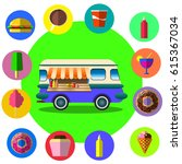 food truck among palm trees on... | Shutterstock . vector #615367034