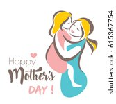 happy mothers day greeting card ... | Shutterstock .eps vector #615367754