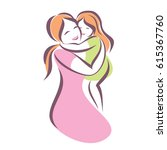 mother and baby stylized vector ... | Shutterstock .eps vector #615367760