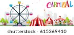 funfair and carnival background  | Shutterstock .eps vector #615369410