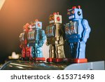 old classic tin toy robots | Shutterstock . vector #615371498