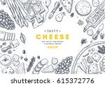 cheese collection top view... | Shutterstock .eps vector #615372776