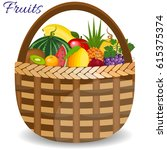 fresh fruits organic food set... | Shutterstock .eps vector #615375374