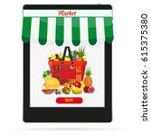 online food shopping ... | Shutterstock .eps vector #615375380