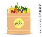 supermarket packet full of... | Shutterstock .eps vector #615375950