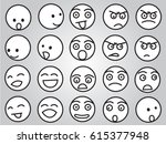 emotion faces in black and white | Shutterstock .eps vector #615377948