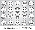 emotion faces in black and white | Shutterstock .eps vector #615377954