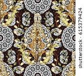 golden mehndi seamless pattern. ... | Shutterstock . vector #615379424