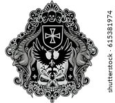 gothic coat of arms with skull... | Shutterstock .eps vector #615381974