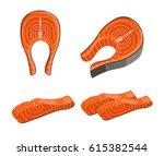 salmon red fish steak...   Shutterstock .eps vector #615382544
