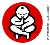 yoga zen meditation icon.... | Shutterstock .eps vector #615388064