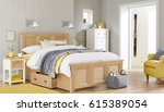 bedroom interior. comfortable... | Shutterstock . vector #615389054