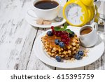 waffles with berries and... | Shutterstock . vector #615395759
