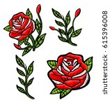 Stock vector red roses embroidery patch 615396008