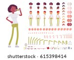 Teenager girl character creation set. Full length, different views, emotions, gestures, isolated against white background. Build your own design. Cartoon flat-style infographic illustration   Shutterstock vector #615398414