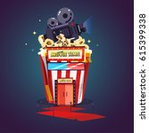 popcorn as theater. enjoy movie.... | Shutterstock .eps vector #615399338