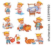 daily routine. child is combing ... | Shutterstock .eps vector #615399980