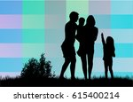 vector silhouette of family. | Shutterstock .eps vector #615400214