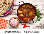 aloo gosht   meat curry in... | Shutterstock . vector #615400838
