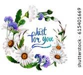 wildflower chamomile flower... | Shutterstock . vector #615401669