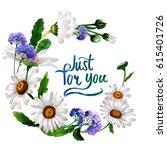 wildflower chamomile flower... | Shutterstock . vector #615401726