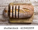 high angle shot of a loaf of...   Shutterstock . vector #615402059