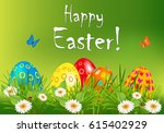 easter greeting card with... | Shutterstock .eps vector #615402929