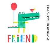 cute creative card template... | Shutterstock .eps vector #615404456