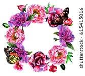 wildflower peony flower wreath... | Shutterstock . vector #615415016