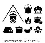 cooking over a fire  campfire... | Shutterstock .eps vector #615419180