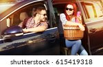 summer time and car trip with... | Shutterstock . vector #615419318